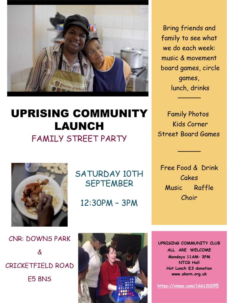 Uprising Community Club Street Party  flyer
